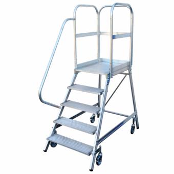 Günzburger Steigtechnik Aluminium-Podestleiter fahrbar, 8 Stufen