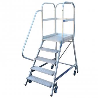 Günzburger Steigtechnik Aluminium-Podestleiter fahrbar, 7 Stufen