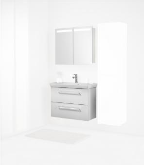 Scanbad Badmöbel Set Multo+ V2 mit WT Lotto 80 cm mit Spiegelschrank, weiß