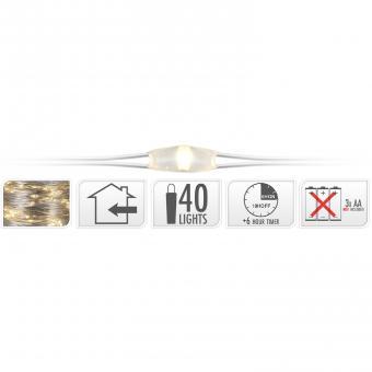 Koopman Silberdraht 40 LEDs warmweiß