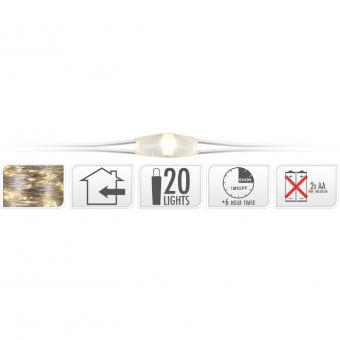Koopman Silberdraht 20 LEDs warmweiß