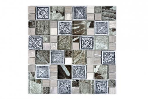 KEM Mosaik Kombination Crystal/Resin mix silber mit Ornament
