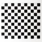 Mosaikmatte Quadrat schachbrett schwarz/weiß glänzend