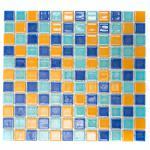 Mosaikmatte Quadrat mix blau/grün/orange glänzend
