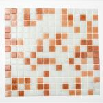 Mosaikmatte Quadrat mix weiß/braun/dunkelbraun
