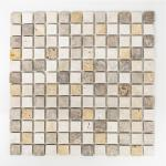 Mosaikmatte Quadrat Travertin Mix Tumbled