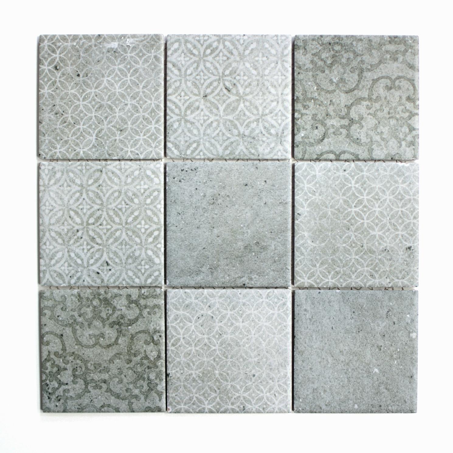 Mosaikmatte Quadrat shabby chic grey matt